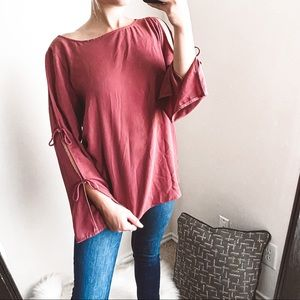 wilfred - pozzi blouse tie sleeves long-sleeve top